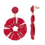 Women's Raffia Fan Drop Earrings