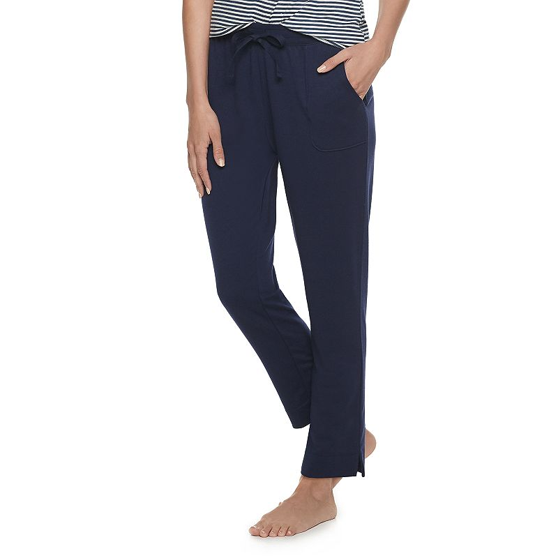 Women's Sonoma Goods For Life Slim Leg Essential Pajama Pants, Size: XL Long, Dark Blue