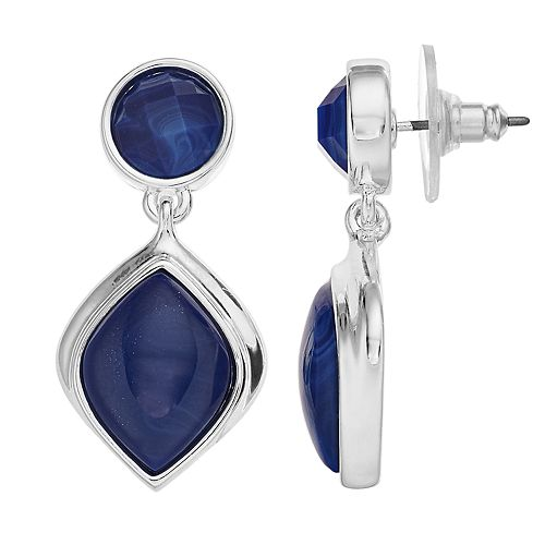 Dana Buchman Blue Simulated Crystal Double Drop Earrings