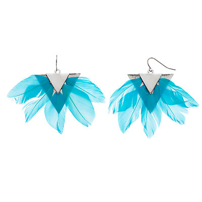 Women's Statement Feather Fan Earrings