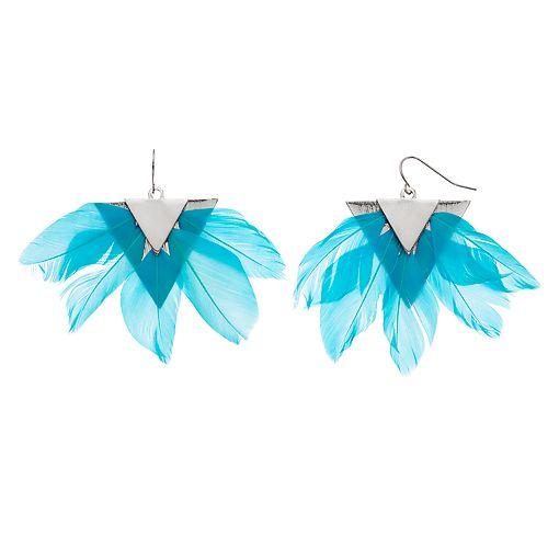 Women's Statement Feather Fan Earrings