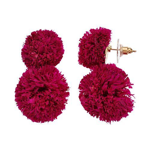 Women's Double Raffia Ball Earrings