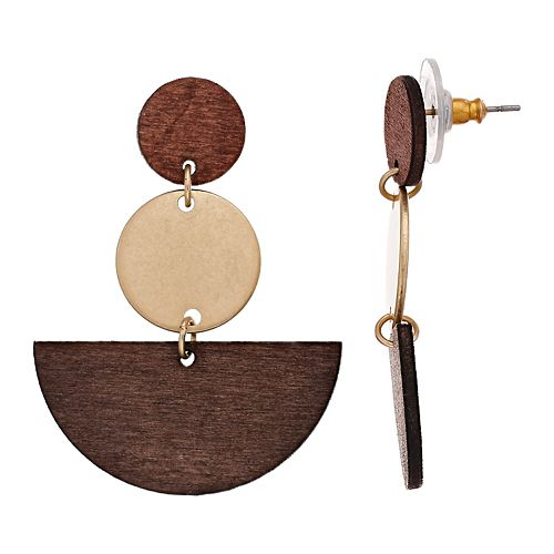 SONOMA Goods for Life™ Wooden Geo Drop Earrings