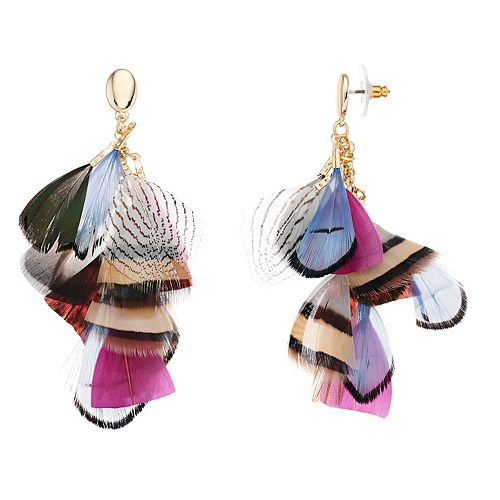 SONOMA Goods for Life™ Multi Color Feather Drop Earrings