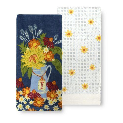 Celebrate Fall Together Flower Vase Kitchen Towel 2-pk.