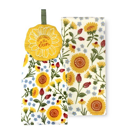 Celebrate Fall Together Sunflower Tie-Top Kitchen Towel 2-pk.