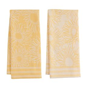 Celebrate Fall Together Sunflower Jacquard Kitchen Towel 2-pk.