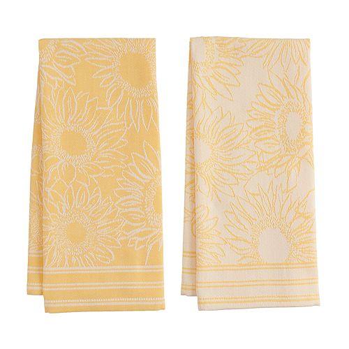 Celebrate Fall Together Sunflower Jacquard Kitchen Towel 2-pk.