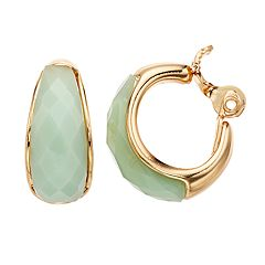 Napier Gold-Tone Green Clip-On Hoop Earrings