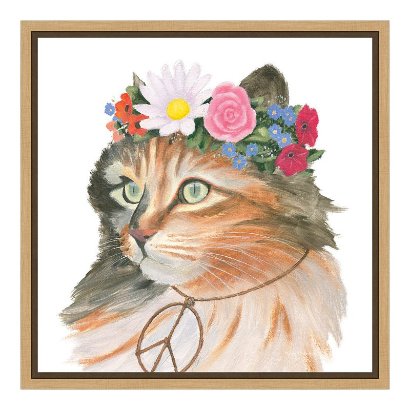 Amanti Art Cattitude I Canvas Framed Wall Art, Brown, 16X16