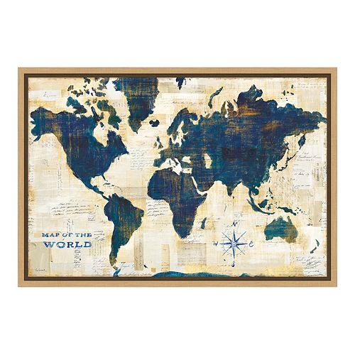 Amanti Art World Map Collage Canvas Framed Wall Art