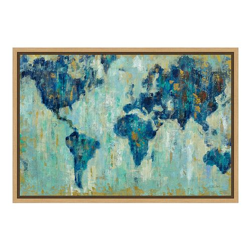 Amanti Art Map of the World Canvas Framed Wall Art