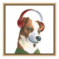 Amanti Art The Boys V Dog Canvas Framed Wall Art