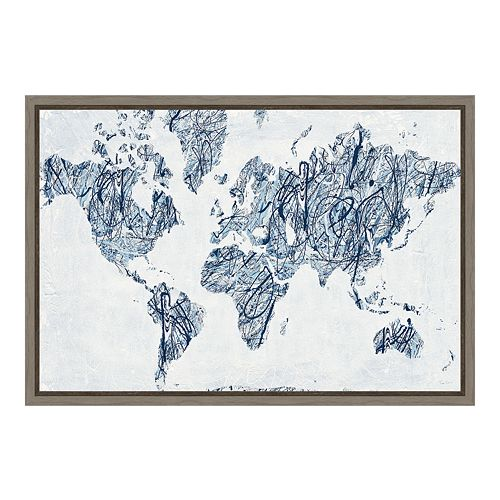 Amanti Art World on String Map Canvas Framed Wall Art