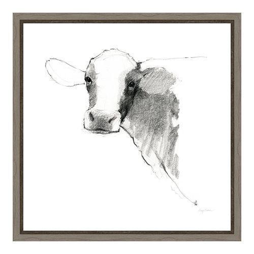 Amanti Art Cow II Square Canvas Framed Wall Art