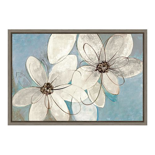 Amanti Art Neutral Floral Canvas Framed Wall Art