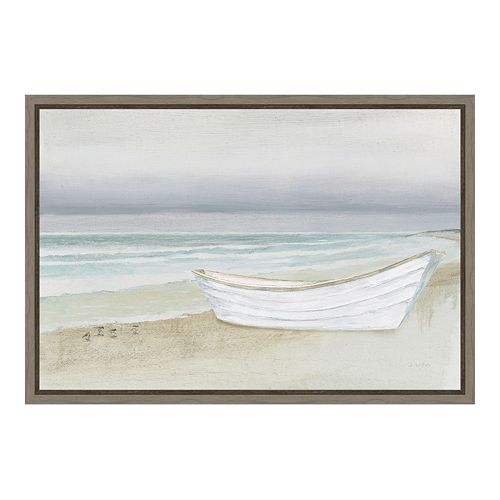 Amanti Art Serene Seaside Boat Canvas Framed Wall Art