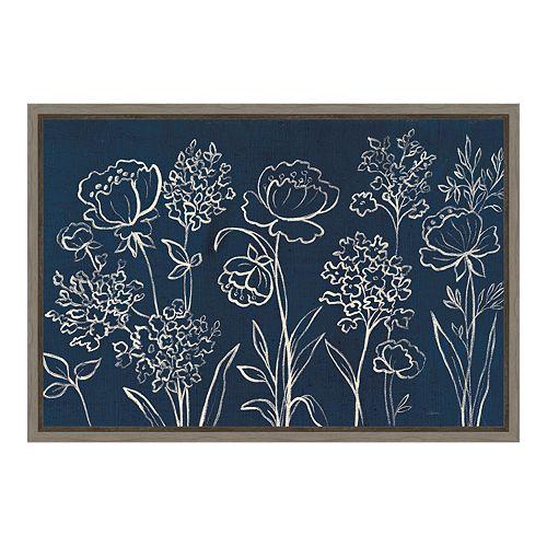 Amanti Art Indigo Floral I Canvas Framed Wall Art