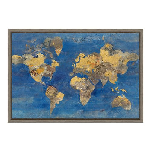 Amanti Art World Map Canvas Framed Wall Art