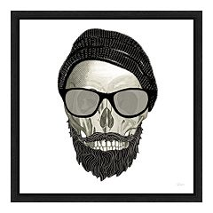 Amanti Art Hipster Skull II Canvas Framed Wall Art