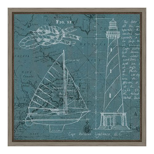 Amanti Art Coastal Blueprint III Canvas Framed Wall Art