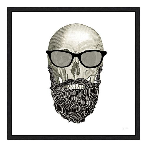 Amanti Art Hipster Skull I Canvas Framed Wall Art