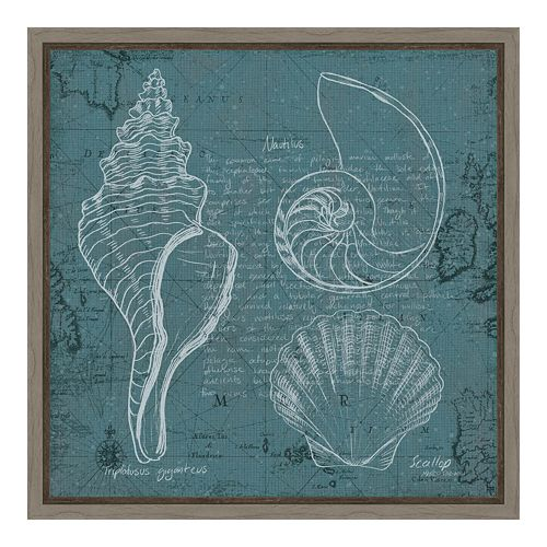 Amanti Art Coastal Blueprint I Canvas Framed Wall Art