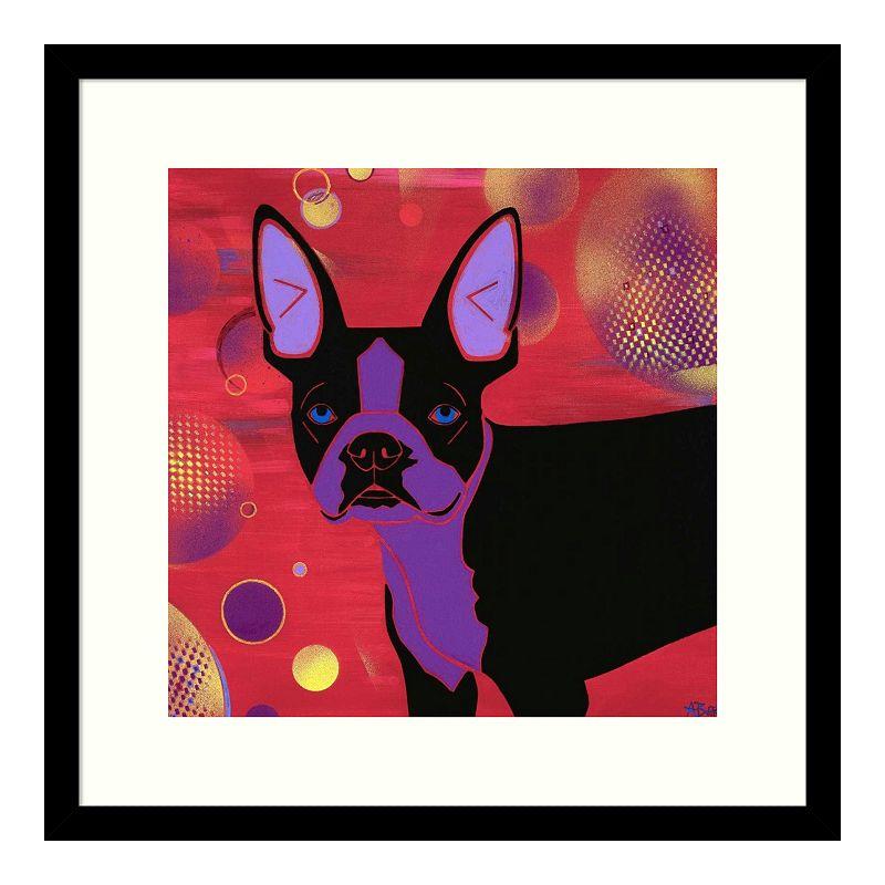 Amanti Art Bubbly Boston Terrier Framed Wall Art, Black