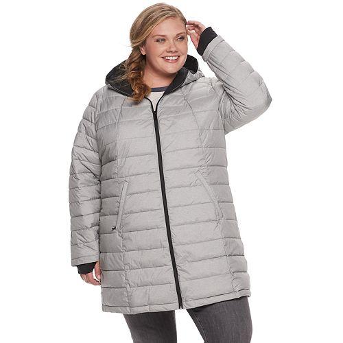 Plus Size Zero Xposur Geneva Quilted Stretch Puffer Coat