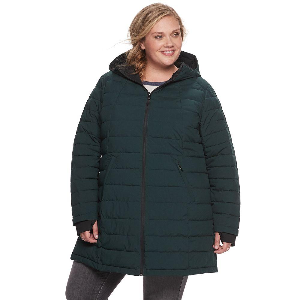 Plus Size ZeroXposur Geneva Quilted Stretch Puffer Coat