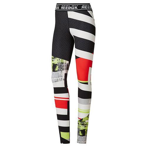 Women's Reebok Workout Ready MYT Engineered Leggings- Neon Lime , Crushed Cobalt