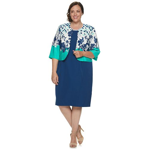 Plus Size Maya Brooke Floral Jacket & Solid Dress Set