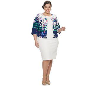 Plus Size Maya Brooke Floral Jacket & Solid Dress Set