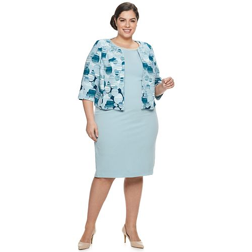 Plus Size Maya Brooke Abstract Polka Dot Jacket & Dress Set