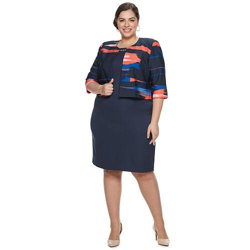 Plus Size Maya Brooke Abstract Jacket & Dress Set