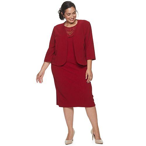 Plus Size Maya Brooke Jacket & Lace Front Dress