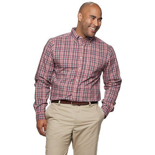 Big & Tall Haggar® Plaid Yarn-Dye Button-Down Shirt