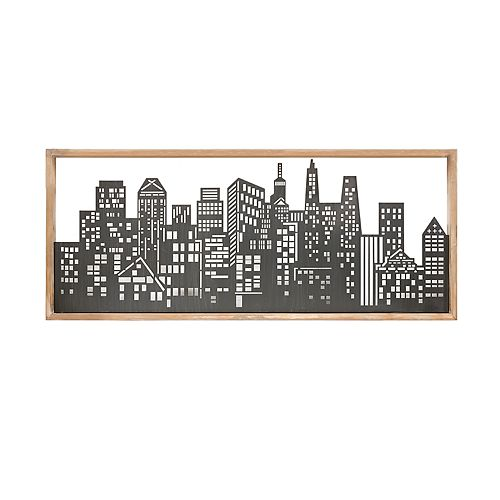 Madison Park Metal Skyline Wall Art Decor with Wooden Frame