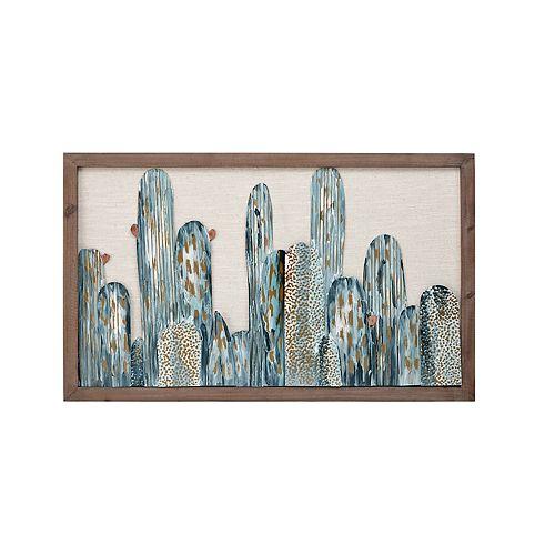 Madison Park Metal Cactus Wall Art Decor with Wooden Frame
