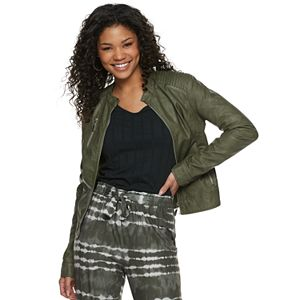 Juniors' J2 Distressed Faux Leather Jacket