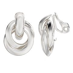 Napier Silver-Tone Layered Clip-On Doorknocker Earrings