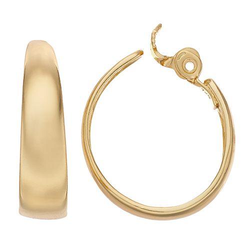 Napier Gold-Tone Oval Hoop Clip-On Earrings