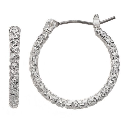 Napier Silver-Tone Textured Hoop Earrings
