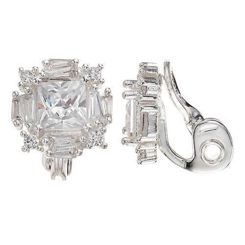 Napier Silver-Tone Cubic Zirconia Cluster Clip-On Earrings