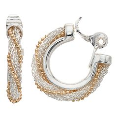 Napier Two Tone Textured Wrap Hoop Earrings
