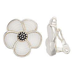 Napier Flower Button Clip-On Earrings