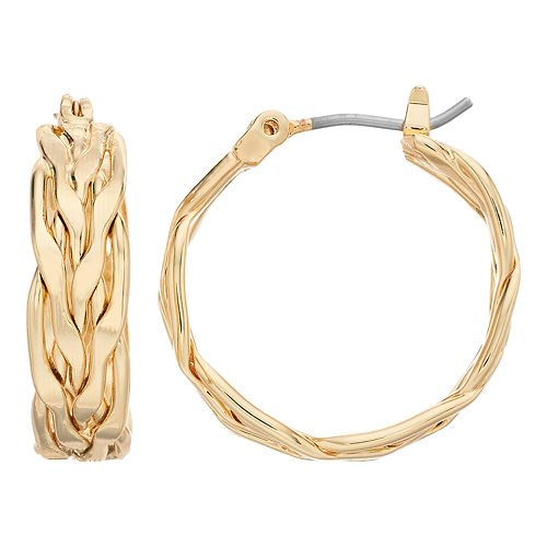 Napier Gold Tone Thick Hoop Earrings