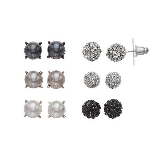 Simply Vera Vera Wang Simulated Pearl & Simulated Crystal Fireball Stud Earring Set