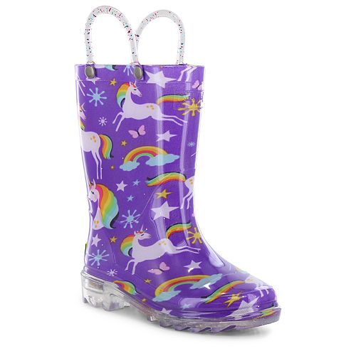 Western Chief Rainbow Unicorn Toddler Girls' Water Resistant Light Up Rain Boots