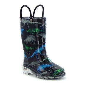 Western Chief Dinosaur Friends Toddler Boys' Water Resistant Light Up Rain Boots